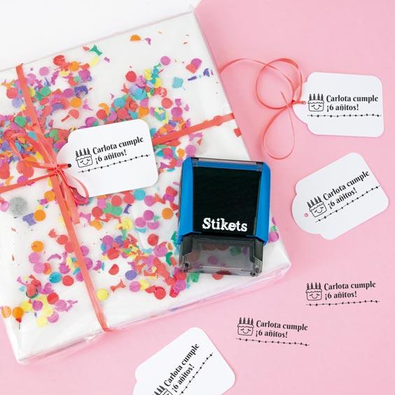 Sello rectangular personalizado para regalos y cumpleaños