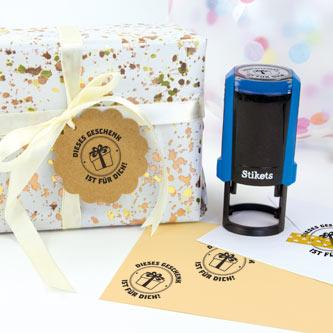 Runder personalisierter Stempel für Geschenke und Geburtstage