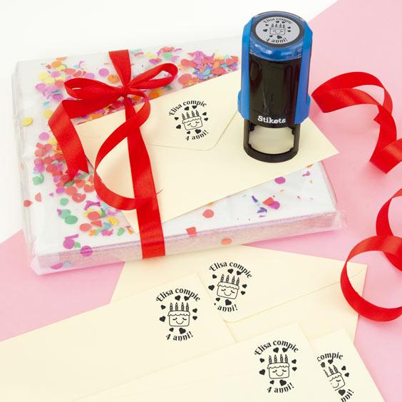 Timbro rotondo personalizzato per regali e compleanni