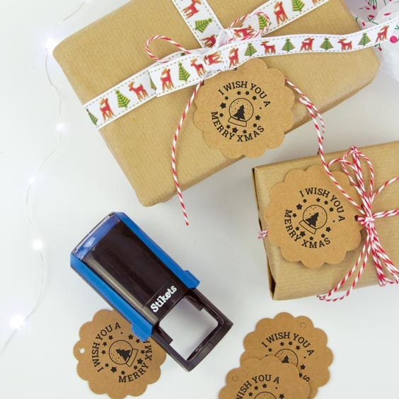 Personalised round stamp for gifts and birthdays