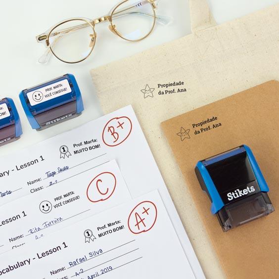 Carimbo retangular personalizado para professores