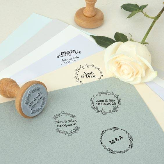 Custom round stamps for weddings