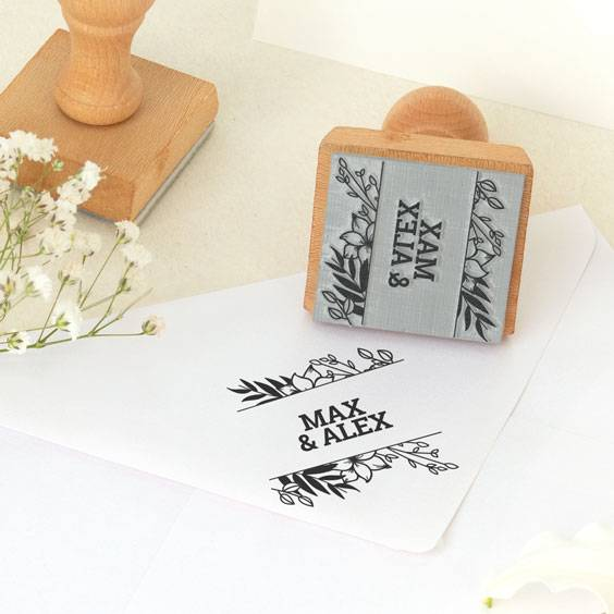 Custom square stamps for weddings