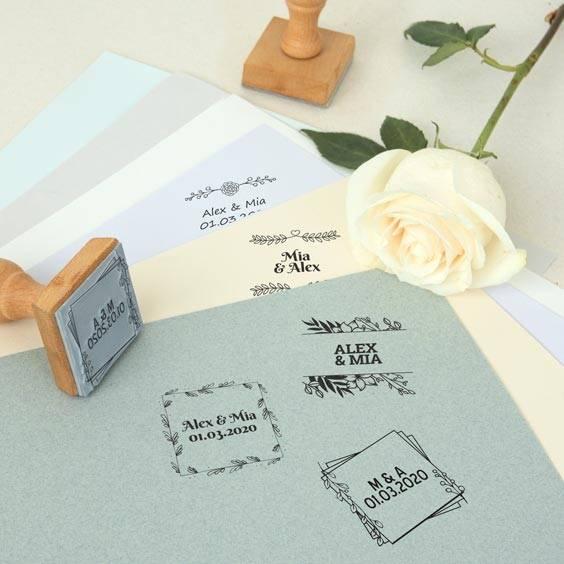Segell quadrat personalitzat per a casament