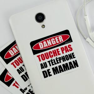 Stickers téléphone Attention Danger