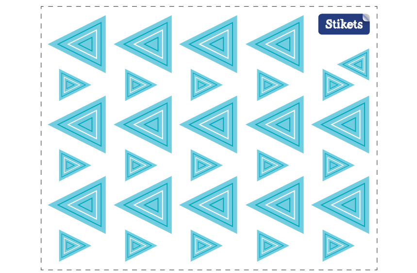 Stickers Triangles bleu concentrique