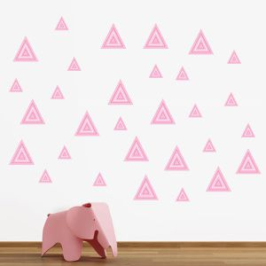 Pink striped triangles wall stickers