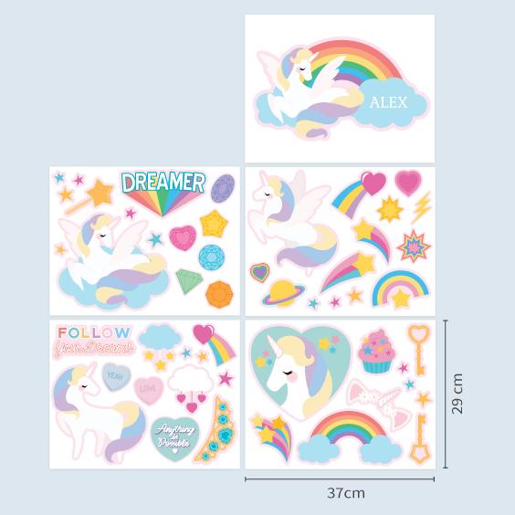 Stickers Licorne et Arc en ciel