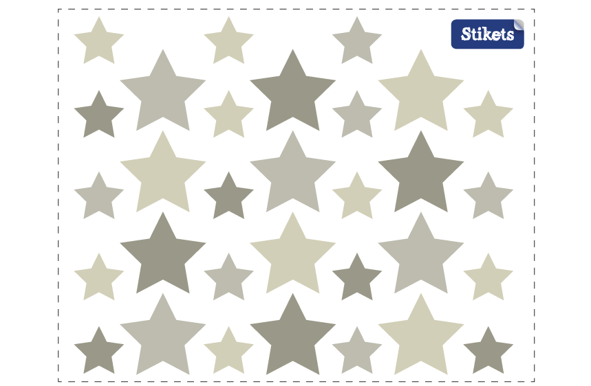 Grey Tone Stars Wall Decals B