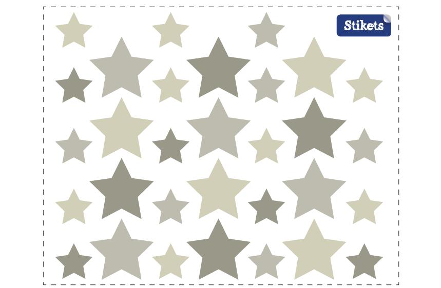 Stickers Etoiles gris cendré B
