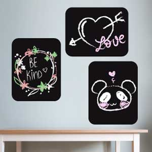 3 Rectangle blackboard wall stickers