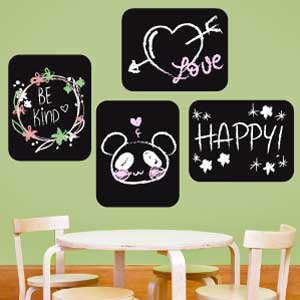 4 Rectangle blackboard wall stickers