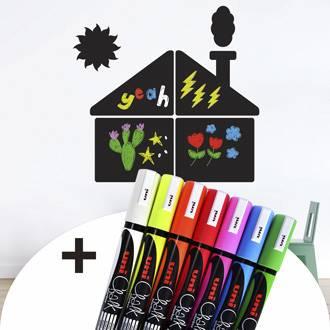 Sticker ardoise maison avec pack de 7 marqueurs