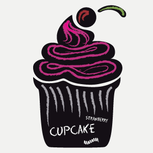 Cupcake blackboard wall sticker
