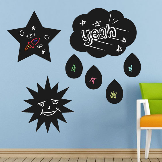 Star, Sun, Cloud Chalkboard Decal