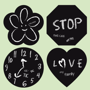 Flower, hexagon, circle and heart blackboard wall stickers
