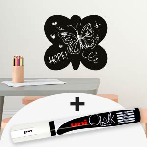 Butterfly blackboard wall sticker with marker