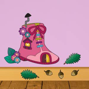 Fairy shoe house wall stickers