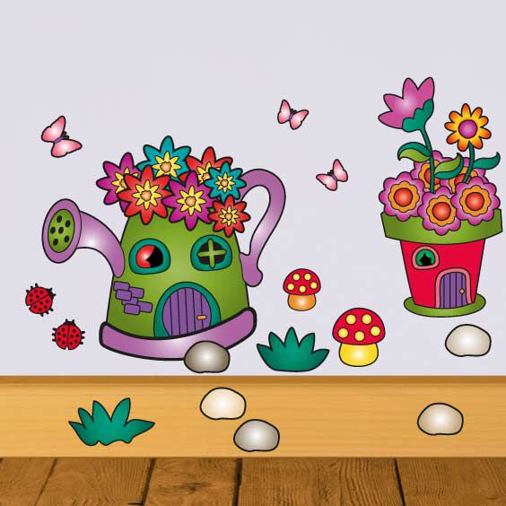 Fairy Flower Pot House Wall Decal