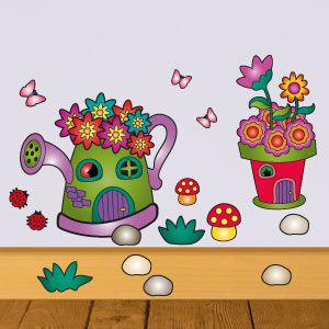 Fairy flower pot house wall stickers