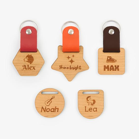 Custom Wooden Keyring with Leather finishing