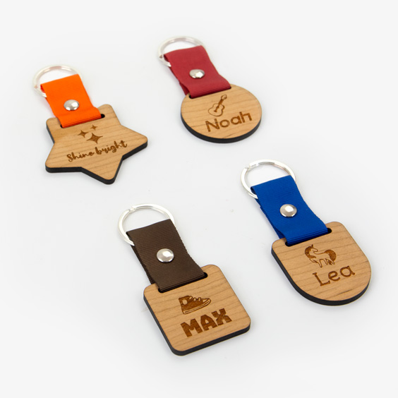 Personalized wooden and textile keyring