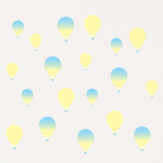 Stickers Montgolfières jaune dégradé